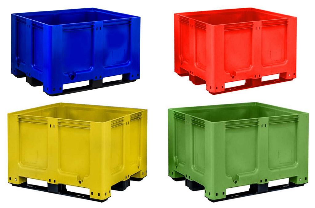 Goplasticpallets.com's GoBox 1210 BBCJ rigid pallet box is available from stock in four striking colours – blue, green, red and yellow.