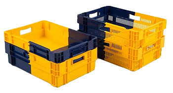 By placing the bi-colour crates one way they nest, the other way they stack on each other