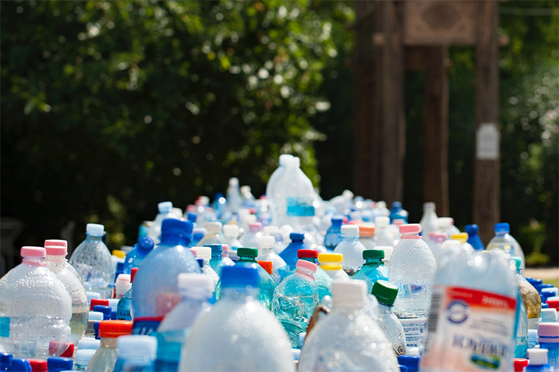 Single-use plastic bottles which are bad for the environment if not recycled correctly