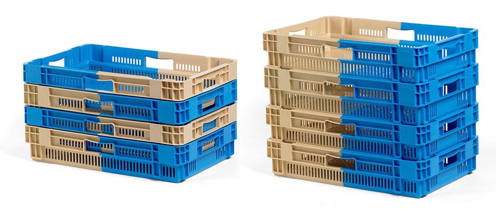 Bi-colour S&N crates can nest up to 80% space saving depending on design