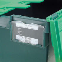 Attached Lid Plastic Box Label Holder