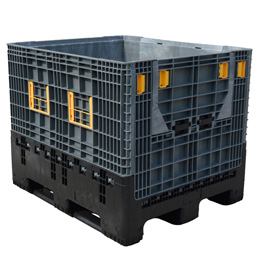 Folding plastic pallet boxes